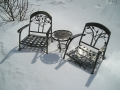 Outdoor patio chairs and table