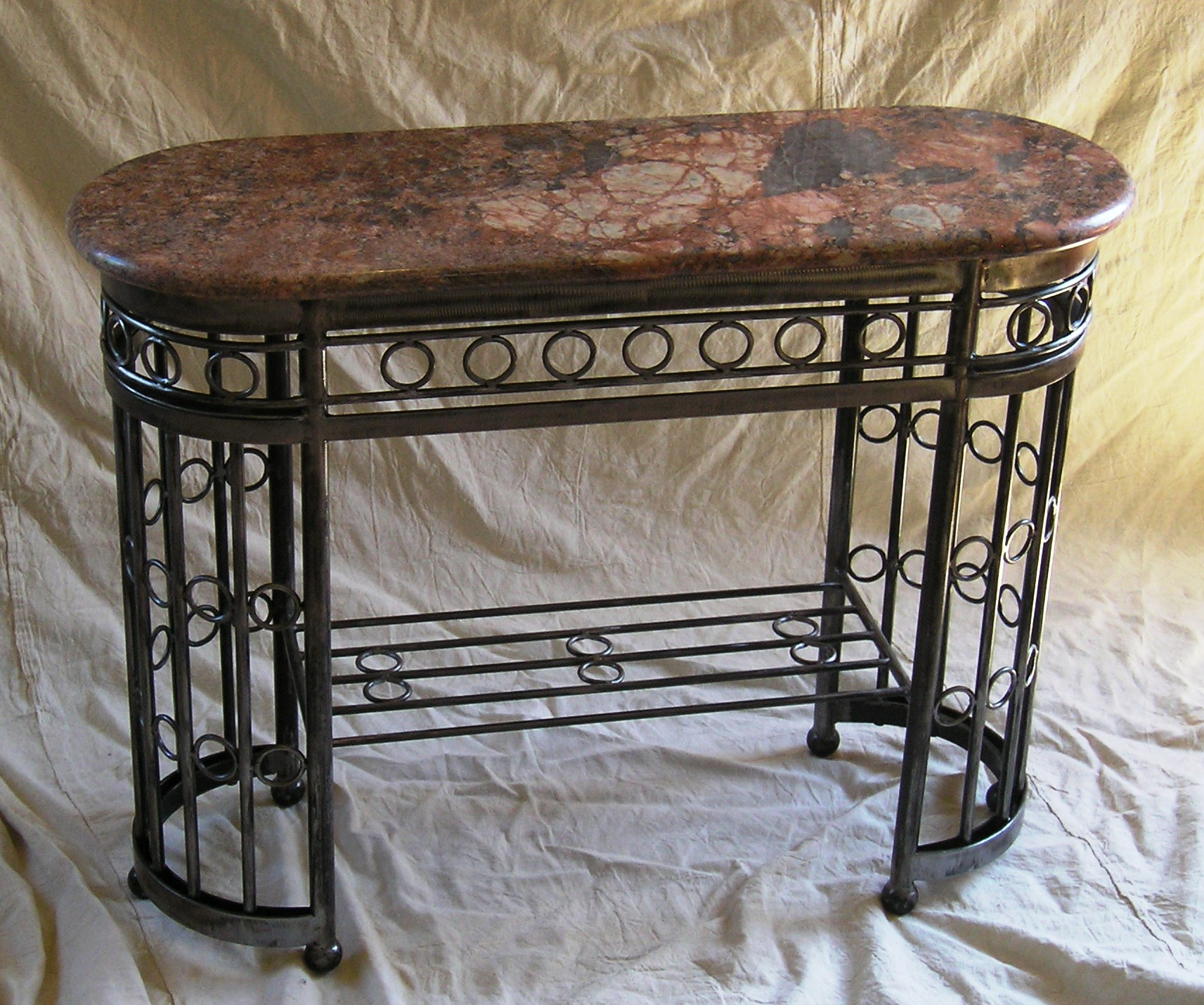 French art deco table with marble top