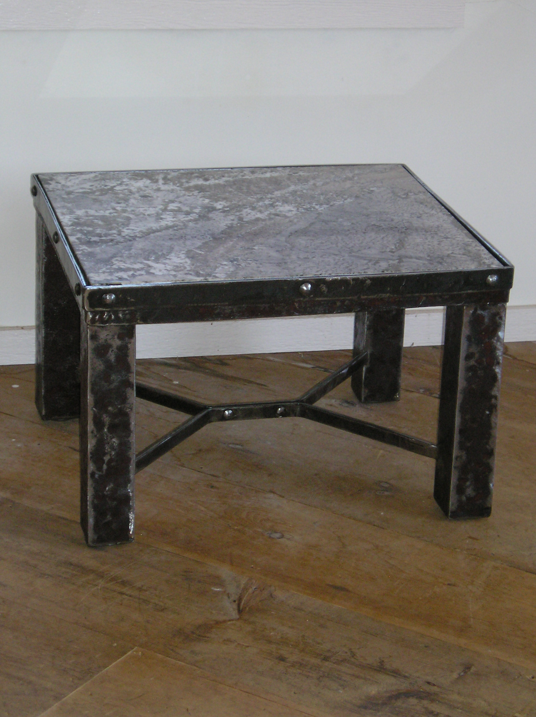 Chunky table with marble top