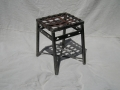 all metal stool with basketweave top